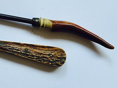 2 Unusual Horn Antler Button Hook Antique Victorian Early Rare