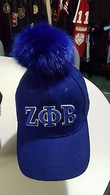 Zeta Phi Beta Sorority Blue Baseball Hat Cap Zeta Phi Beta Fluffy Ball Hat