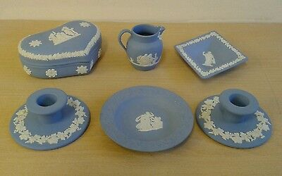Wedgwood, Jasperware, Blue White,  Plate,Pin Dish,Candleholder,Heart Box, Jug