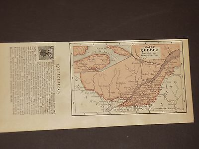 1893 Antique MAP MEXICO / QUEBEC   listing Population   FREE SHIPPING
