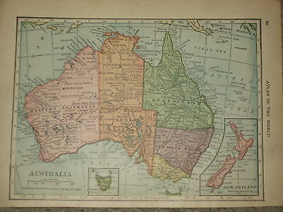1909 Antique MAP AUSTRALIA NEW ZEALAND TASMANIA   107 Yrs Old