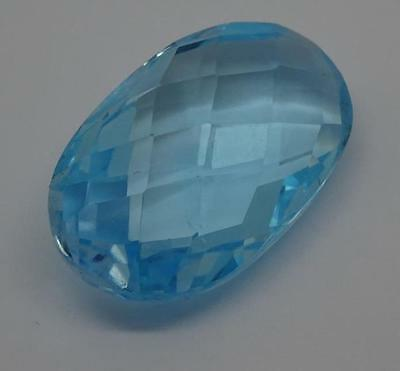 ***Beautiful Natural 28.9ct Blue Topaz Fancy Faceted Oval Cut Gemstone***