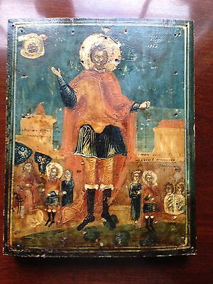 ANTIQUE ORTHODOX ICON HAND PAINTED ST JOHN of RUSSIA *WOW*