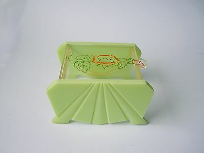 Early 1950's Art Deco Light Green and Clear Perspex Box With Poppy Illustration.