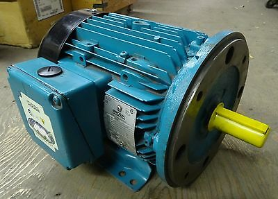 NEW Brock Crompton TEFC 3 Phase Motor 5HP 575V 1740RPM - C Flange Installed