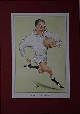 RORY UNDERWOOD, ENGLAND RUGBY PRINT by JOHN IRELAND