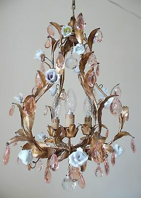 Italian Cage Porcelain Roses And Drops Crystal Pink Chandelier  1930