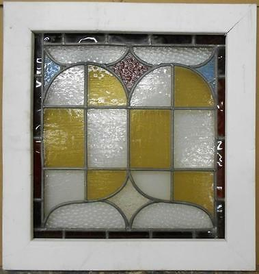 "VICTORIAN MID SIZED ENGLISH LEADED STAINED GLASS WINDOW Amazing 21.75"" x 22.75"""