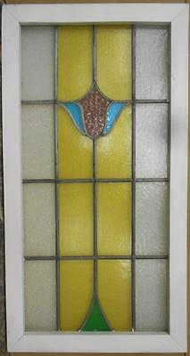 "LARGE OLD ENGLISH LEADED STAINED GLASS WINDOW Beautiful Floral 19"" x 36.25"""
