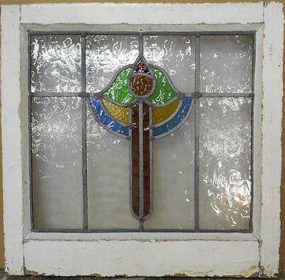 "OLD ENGLISH LEADED STAINED GLASS WINDOW Pretty Abstract Design 18.25"" x 17.75"""