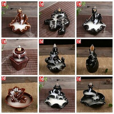 Black Porcelain Backflow Ceramic Cone Incense Burner Holder Buddhist Or Cones