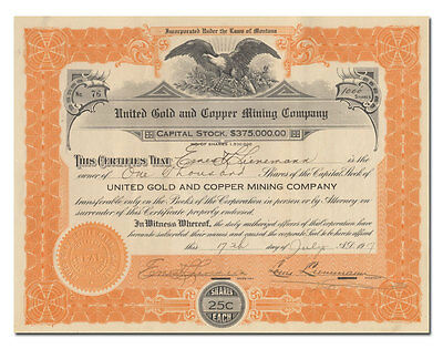 United Gold and Copper Mining Company Stock Certificate