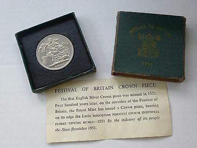 *LARGE 38mm GEORGE VI 1951 FESTIVAL OF BRITAIN CROWN WITH BOX & CERTIFICATE*