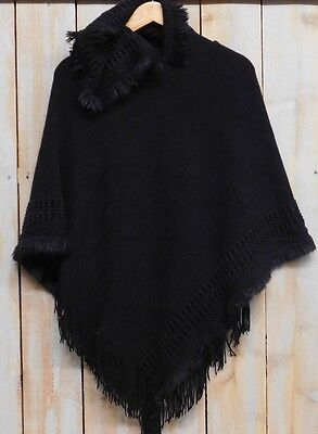 Tickled Pink Womens Faux Fur Fringed Hooded Poncho Black NWT