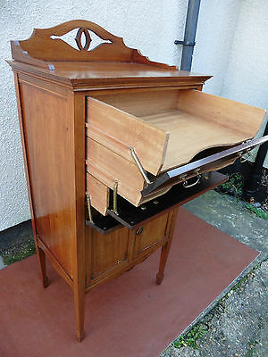 Antique Edwardian Inlaid Mahogany Drop Front Filing Cabinet, Chest, 3 Trays,