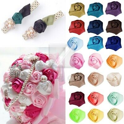 10pcs 21mm Satin Ribbon Rosebuds Flower Sewing Craft Wedding Appliques 45 Colors