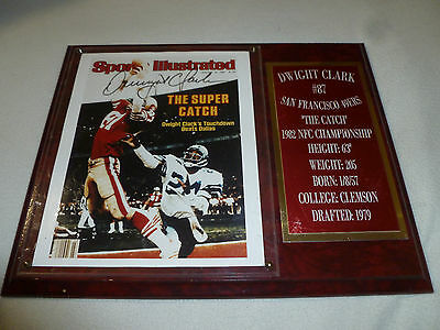 Sf 49Ers Dwight Clark Sports Illustrated Cover Plaque 1982 #87 Signed Auto Catch