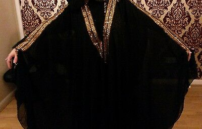 Women's Black Abaya Cover Arabic Khaleeji/Kaftan Maxi Special with hood Long