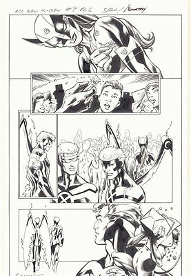 All-New X-Men #4 p.5 - X-23 Wolverine, Angel, & Cyclops 2016 art by Mark Bagley