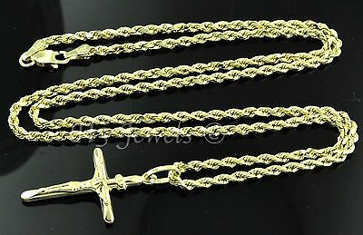 14k solid yellow gold hollow rope chain necklace & cross pendant  #3580 4.10gram