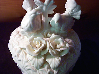 Vintage Lidded Milk Glass Heart Shape With Dove Rose Decor Dish
