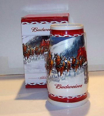 2010 Budweiser Christmas Holiday Stein - New In Box - Free Shipping
