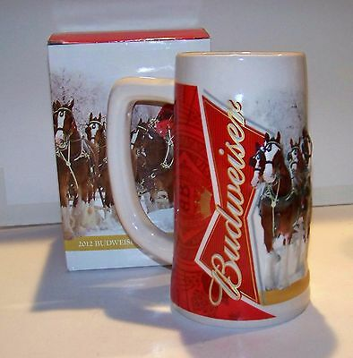 2012 Budweiser Christmas Holiday Stein - New In Box - Free Shipping