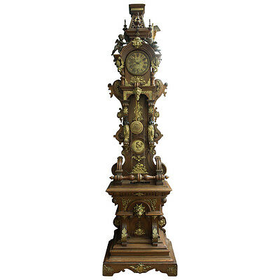 A Fine Austrian Antique Patinated and Ormolu-Mounted Oak grandfather clock