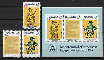 Gambia , Us Bicentennial , 1976 , S/s & Set Of 3 ,  Perf , Mnh