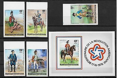 Central Africa , Us Bicentennial , 1976 , S/s &  Set Of 5 ,  Imperf , Mnh