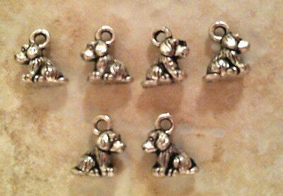 6x Lot dog charms cocker spaniel puppy silver for diy jewelry making 2-sided 3D