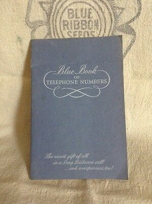 Vintage Blue Book of Telephone Numbers Illinois Bell Telephone Company