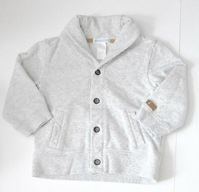 Janie and Jack Boys Button Up Cowl Neck Grey Sweatshirt 18-24 Month EUC