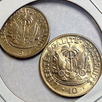 Haiti 1958 10 Centimes & 5 Centimes Uncirculated Pair Of Coins