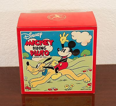 Disney Mickey Mouse Riding Pluto Wind-Up Toy Schylling Mib