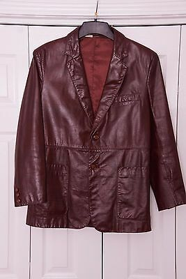 Men's 70s Vintage Dark Chocolate Brown Leather Jacket for Roos Atkins Size 40