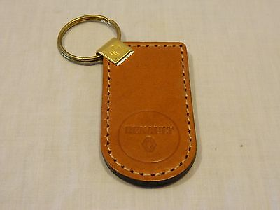 Vintage Light Brown Genuine Leather RENAULT Keychain Key Chain - New/Old Stock