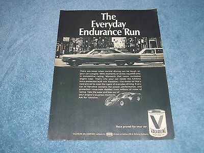 "1968 Valvoline Motor Oil Vintage Ad ""The Everyday Endurance Run"""