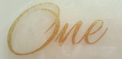 DIY one cursive gold glitter iron on transfer - free postage