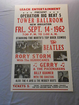 """THE BEATLES RORY STORM HURRICANES 1962 CONCERT POSTER 14"""" x 22"""""""