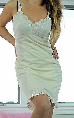 VTG Sears Ivory Fancy Scalloped Lace Shadow Panel Nylon Full Slip Dress sz 36