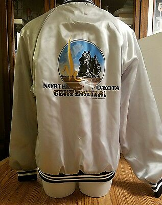 NORTH DAKOTA CENTENNIAL SATIN VINTAGE JACKET Size Medium  made in USA Hartwell