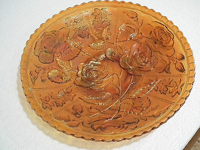 Rare Antique Carnival Glass Electric Amber Imperial Open Rose 9 Inch Plate
