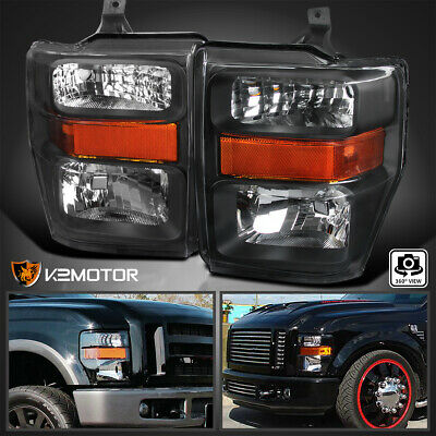 2008-2010 Ford F250 F350 F450 SuperDuty Pickup Crystal Black Headlights Pair