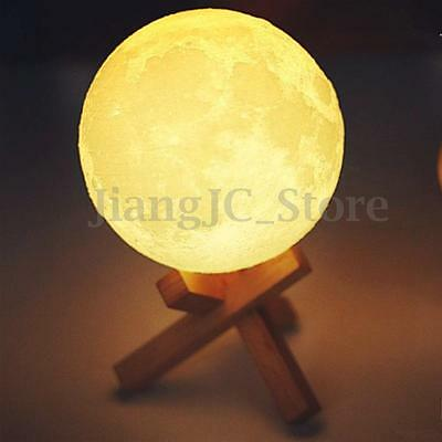 Moonlight Table Desk Lamp 3D Print Glow Moon Night Light Portable Christmas Gift