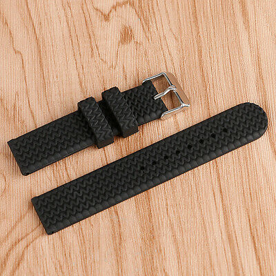 16/18/20/22mm Watch Strap Wrist Band Tire Link Waterproof Black Silicone Rubber
