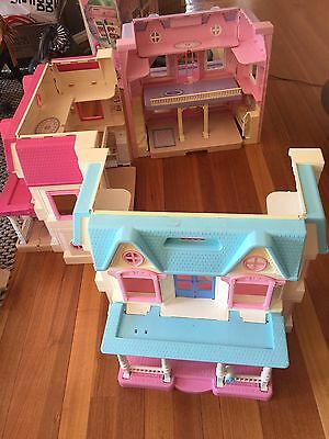 3 X Fisher price Loving Family Dolls House And Load Of Accessories Vintage