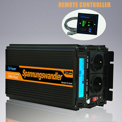Convertisseur 2000W 4000W Power Inverter 24V 220V Onduleur LCD Affichage