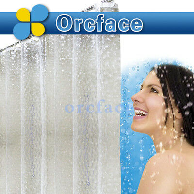 1.8*1.8m Waterproof 3D Thick Bathroom Bath Shower Curtain Blue WITH 12 HOOKS UK