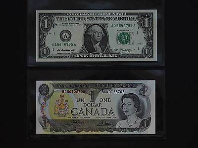 United States & Canada  -  Superb  $1  Banknote Pair   * Both Gem Unc *